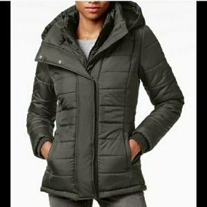 Quilted puffer jacket w/hood